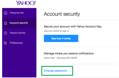 yahoo email security key