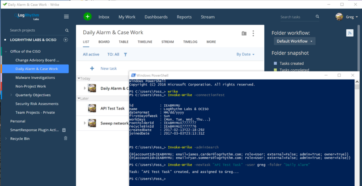 Figure 1: Wrike PowerShell Script Integrated with Daily Alarm and Case Work