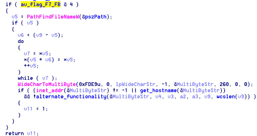 Figure 4: Highlighted Code Checks to see if Kaspersky is Running