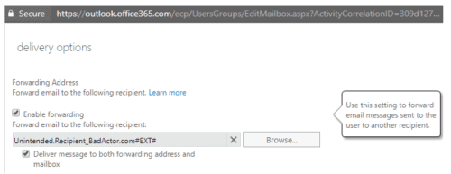 An administrator modifies the user account setting from the Exchange Admin Control Panel